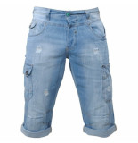 MZ72 Heren bermuda damaged look white wash onaga blue denim blauw