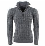Indicode Heren trui met hoge kraag fijn gebreid rufus grijs