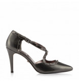 Dune London Cayleigh pewter patent lea
