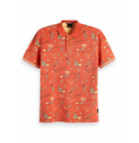 Scotch & Soda Pique polo with hawaiian all-over rood