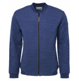 No Excess Sweater, full zip bomber, jacquard indigo blue blauw