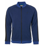 No Excess Sweater, full zip bomber, sleeve ta indigo blue blauw