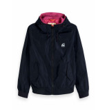 Scotch & Soda Classic hooded nylon jacket blauw
