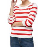 Selected Femme Slfalina stripe ls knit o neck poppy red rood