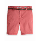 Maison Scotch 149978 1200 longer length chino shorts, sold with a belt cadillac pink rood