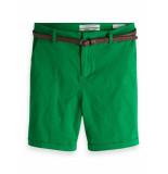 Maison Scotch 149978 0530 longer length chino shorts, sold with a belt palm green groen