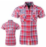 Geographical Norway Heren korte mouw overhemd gestreept borstzakken slim fit zumba rood