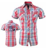 Geographical Norway Heren korte mouw overhemd gestreept borstzakken zartar rood