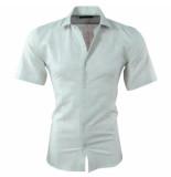 Pradz 2018 Heren korte mouw overhemd met trendy design slim fit mint groen