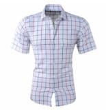 Pradz 2018 Heren korte mouw overhemd geblokt slim fit wit