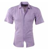Pradz 2018 Heren korte mouw overhemd slim fit paars