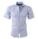Pradz 2018 Heren korte mouw overhemd slim fit licht grijs