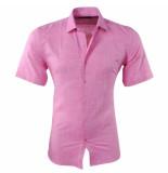 Pradz 2018 Heren korte mouw overhemd met trendy design slim fit roze