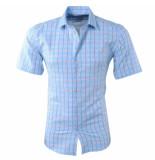 Pradz 2018 Heren korte mouw overhemd geblokt slim fit licht blauw