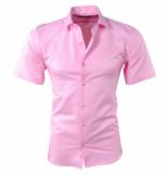 Pradz 2018 Heren korte mouw overhemd met trendy design slim fit roze blauw