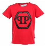 Philipp Plein Junior statement round eck t-shirt ss rood