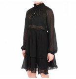 NA-KD A-kd high eck frill layer dress zwart