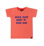 Beebielove Shirt korte mouw just sun coral rood