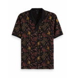 Scotch & Soda All-over printed polo in hawaiian print zwart