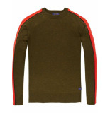 Scotch & Soda Crewneck pullover with contrast sle combo a groen