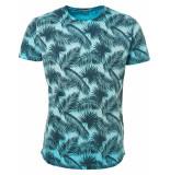 No Excess T-shirt s/sl, r-neck, ao print, ins lt aqua blauw