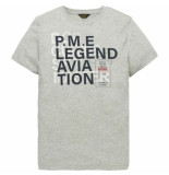 PME Legend Short sleeve r-neck nep yarn jerse grey melee beige