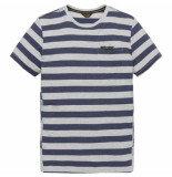PME Legend Short sleeve r-neck yd stripe jers bone white grijs