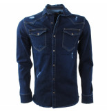 Catch Heren overhemd borstzakken damaged look stretch denim blauw