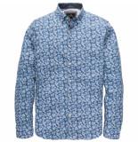 Vanguard Vsi192400 5028 long sleeve shirt cf poplin print blue blauw