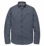 PME Legend Psi192207 5281 long sleeve shirt poplin badge print salute blauw