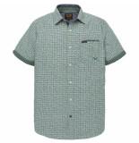 PME Legend Psis192247 6198 short sleeve shirt check print burlington deep grass green blauw