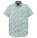 PME Legend Psis192225 5147 short sleeve shirt poplin print alex cloud blue blauw
