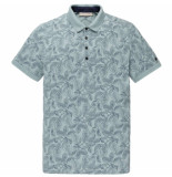 Cast Iron Short sleeve polo rubberplant aop tourmaline blauw