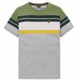 PME Legend Short sleeve r-neck printed stripe grey melee grijs