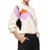Selected Femme Slfalba 3/4 knit o neck birch wit