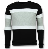 Enos Striped sweater mens grijs