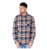 Influence Check cotton shirt blauw