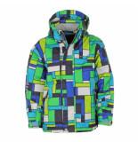 Color Kids / groen geblokte kinder regenjas sepp 10.000 waterkolom blauw