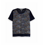 Maison Scotch 150160 0597 mixed printed tee with woven frontpanel blauw