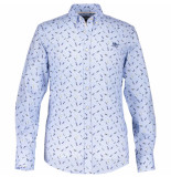 State of Art Shirt ls printed poplin 214-19233-2456 blauw
