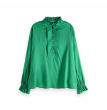 Maison Scotch Tunic top with ruffled collar groen