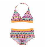 Boobs & Bloomers Boobs & bloomers meisjes halter bikini enja zigzag oranje