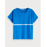 Maison Scotch 150206 1223 oversized tee with poolside artworks pool blue blauw