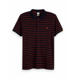 Scotch & Soda Pique polo striped blauw
