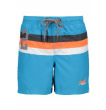 Superdry Water polo stripe swim m30107ar tropical aqua blauw