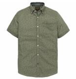 PME Legend Psis193206 6414 short sleeve shirt linen print michael dusty olive groen