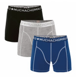 Muchachomalo 3-pack boys short solid/solid/solid blauw