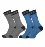 Muchachomalo 2-pack solid socks long grijs