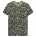 PME Legend Ptss193512 6414 short sleeve r-neck slub jersey aop dusty olive groen
