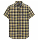 PME Legend Psis193236 1057 short sleeve shirt melange check miro mimosa blauw
